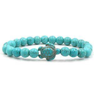Blue Turquoise Stone Turtle Charm Bead Bracelet